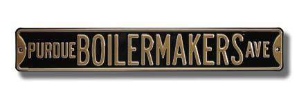 """Steel Street Sign:  """"PURDUE BOILERMAKERS AVE"""" (Black)"""