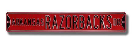 "Steel Street Sign: ""ARKANSAS RAZORBACKS DR"""