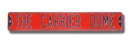 "Steel Street Sign: ""THE CARRIER DOME"""