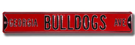 "Steel Street Sign: ""GEORGIA BULLDOGS AVE"" (Red)"