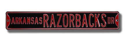 "Steel Street Sign:  ""ARKANSAS RAZORBACKS DR"" (Black)"