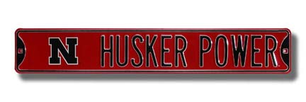 """Steel Street Sign:  """"""""HUSKER POWER"""""""" with """"""""N"""""""" Logo"""" ASG-70083"""