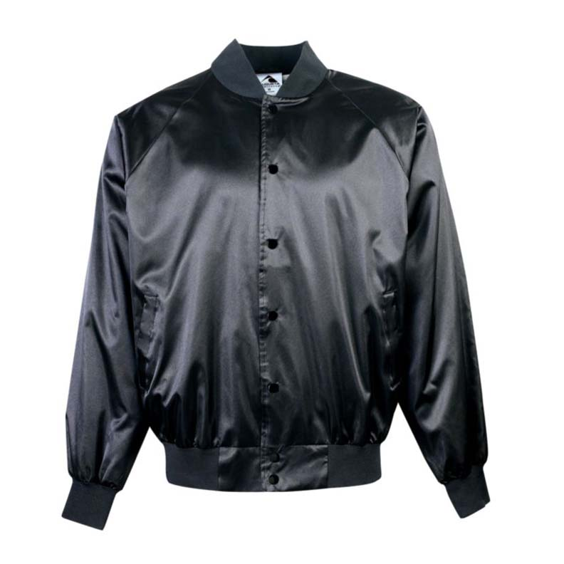 Adult Satin Baseball Jacket with Solid Trim (5X-Large) From Augusta Sportswear
