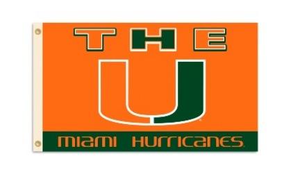 """Miami Hurricanes """"""""The U"""""""" Premium 3' x 5' Flag"""" BSI-95131"""