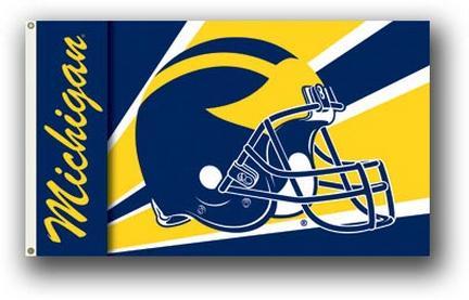 Michigan Wolverines  Premium 3' x 5' Helmet Flag
