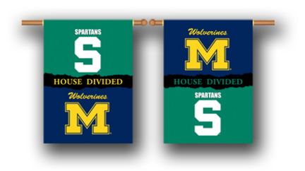 """Michigan Wolverines and Michigan State Spartans House Divided Two Sided 28"""" x 40"""" Banner"""
