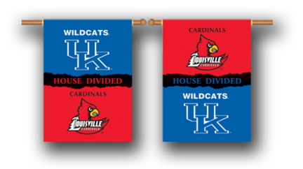 "Kentucky Wildcats and Louisville Cardinals House Divided Two Sided 28"" x 40"" Banner"