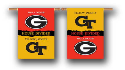 """Georgia Bulldogs and Georgia Tech Yellow Jackets House Divided Two Sided 28"""" x 40"""" Banner"""