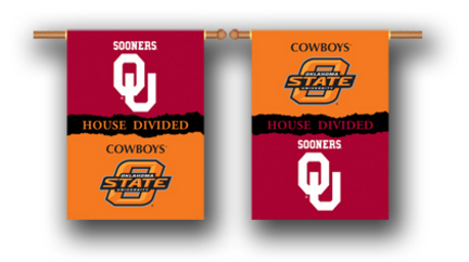 "Oklahoma Sooners and Oklahoma State Cowboys House Divided Two Sided 28"""" x 40"""" Banner"" BSI-96947"
