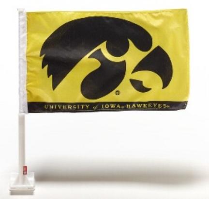 """Iowa Hawkeyes Black Hawk Premium 11"""" x 18"""" Two Sided Car Flags - 1 Pair"""