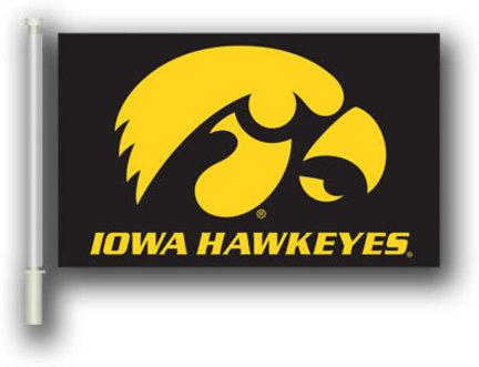 """Iowa Hawkeyes Gold Hawk Premium 11"""" x 18"""" Two Sided Car Flags - 1 Pair"""
