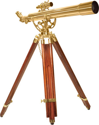 Anchormaster 28 Power 70060 Brass Refractor Telescope with Mahogany Floor Tripod