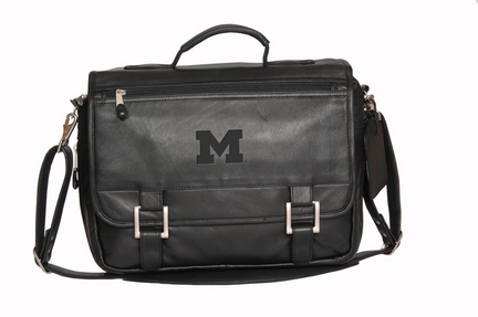 NCAA Michigan Wolverines Copper Canyon Expandable Leather Briefcase
