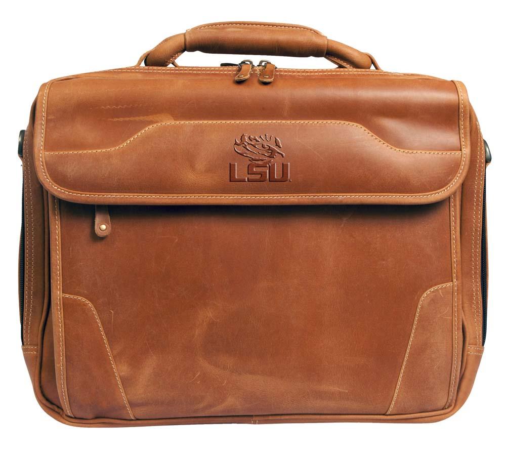 NCAA LSU Tigers Dakota Pines Leather Computer Briefcase