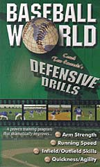 This video includes a complete training program based on the drills featured daily at the award-winning camps at Baseball World's Training Center in Orlando, Florida.  Its school-trained teams have won back-to-back MU championships, setting many offensive and defensive records.  You will discover defensive secrets from some of baseball's finest teachers.  The program on this tape will dramatically improve arm strength, running speed, practice organization, infield and outfield skills, and quickness and agility.  (1990, 50 minutes)To order the Defensive Drills in DVD format, click here.To order the Tom Emanski 6 Tape Video Series click here.