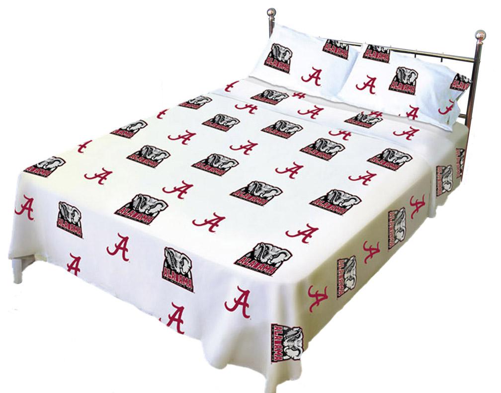Alabama Crimson Tide White Sheet Set (King)