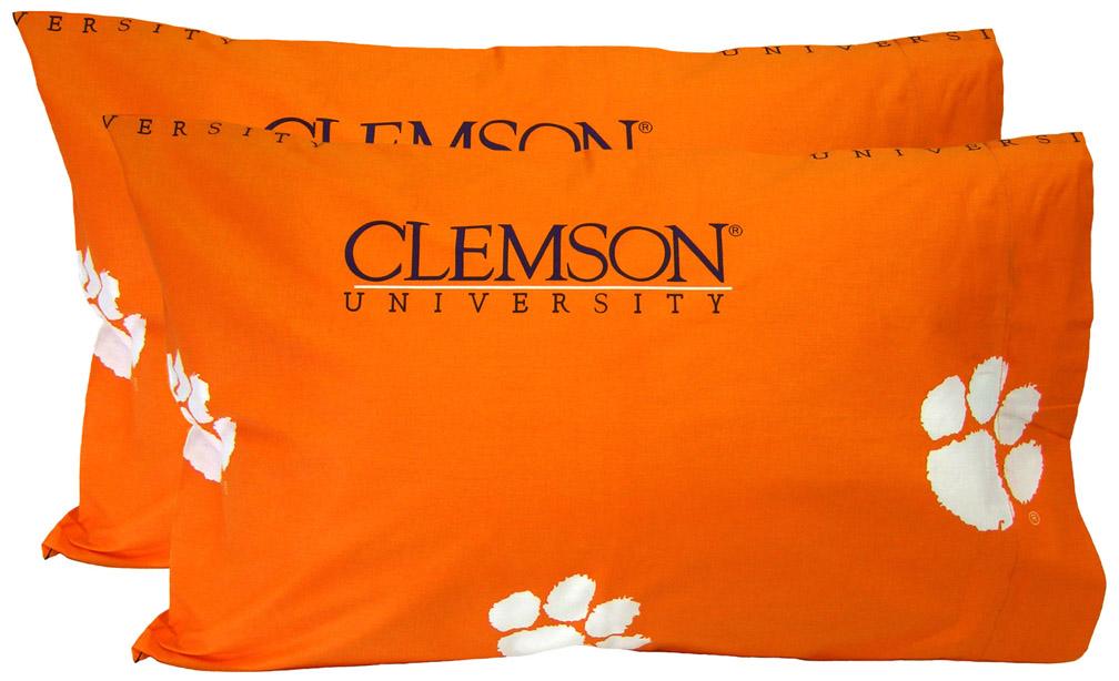 Clemson Tigers Standard Size Printed Logo Pillow Case (Set of 2)