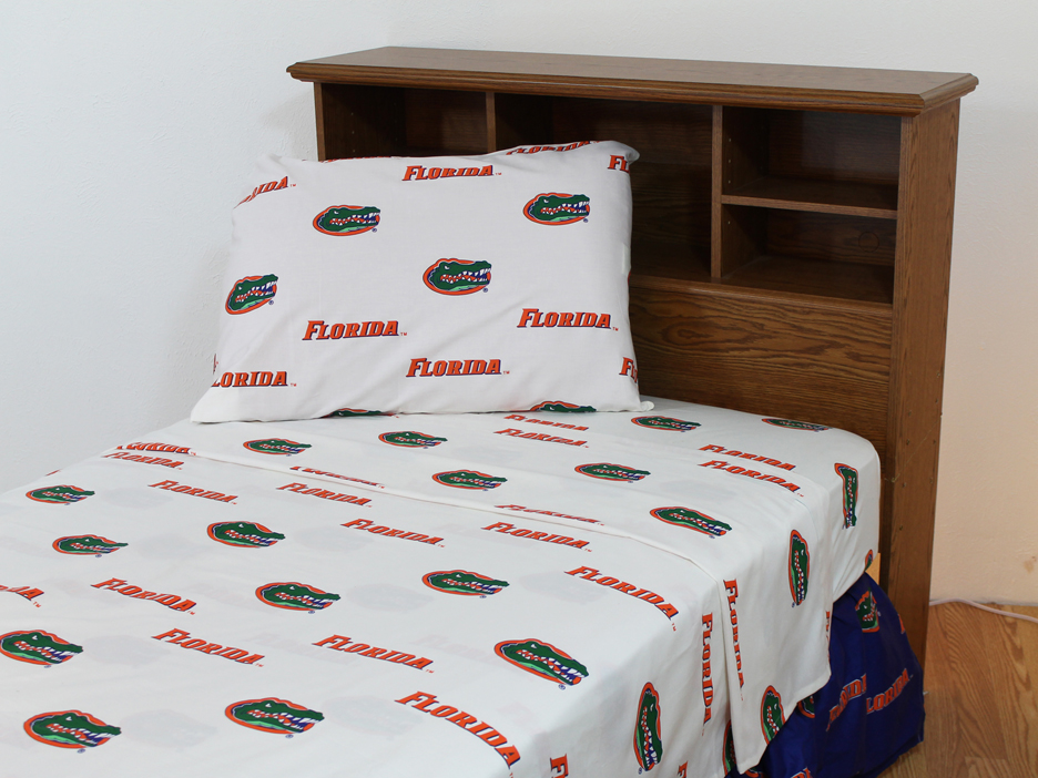 Florida Gators White Full Size Sheet Set