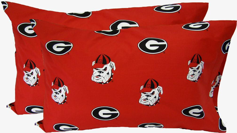 Georgia Bulldogs King Size Printed Pillow Case (Set of 2)