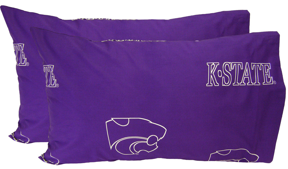 Kansas State Wildcats Standard Size Printed Logo Pillow Case (Set of 2)