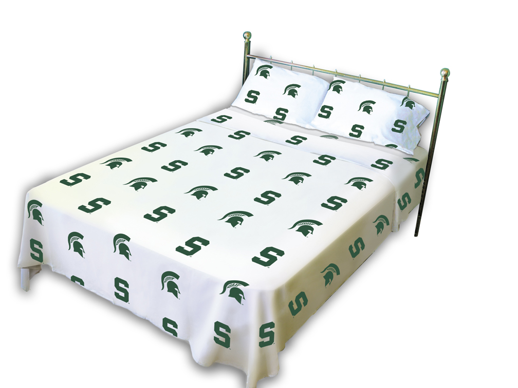 Michigan State Spartans White Sheet Set (Queen)