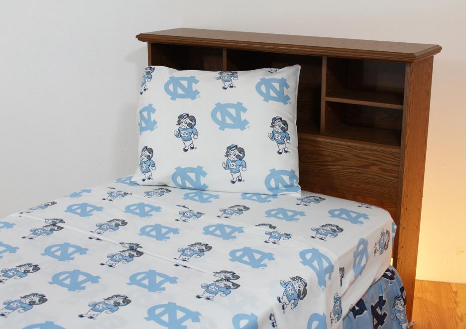North Carolina Tar Heels White Queen Size Sheet Set