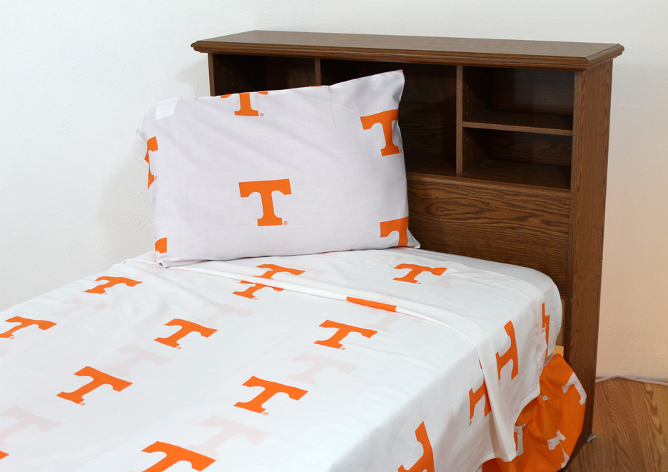Tennessee Volunteers White Full Size Sheet Set