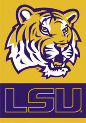 """Louisiana State (LSU) Tigers T iger Head Premium 28"""" x 40"""" Two-Sided Banner"""
