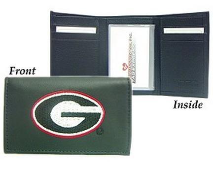 Georgia Bulldogs Embroidered Leather Tri-Fold Wallet