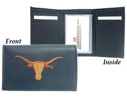 Texas Longhorns Embroidered Leather Tri-Fold Wallet