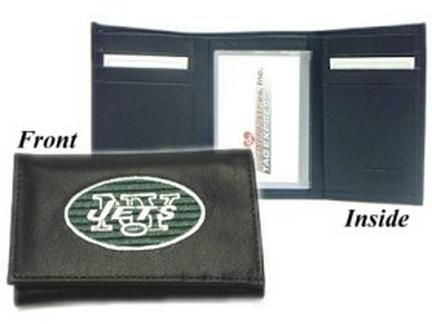 New York Jets Embroidered Leather Tri-Fold Wallet