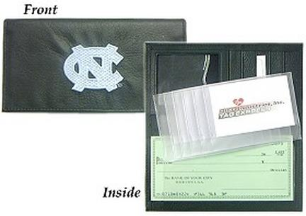 North Carolina Tar Heels Embroidered Leather Checkbook Cover