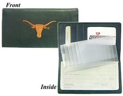 Texas Longhorns Embroidered Leather Checkbook Cover