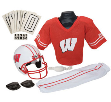 Franklin Wisconsin Badgers DELUXE Youth Helmet and Football Uniform Set (Small)