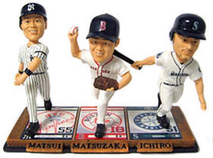 Hideki Matsui, Daisuke Matsuzaka and Ichiro Suzuki Triple Threat Bobble Head Doll from Forever Collectibles CD-8132947130