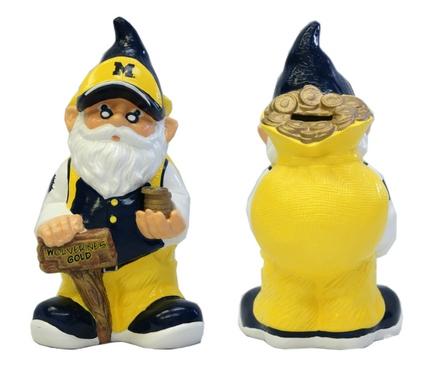 Michigan Wolverines Garden Gnome Coin Bank