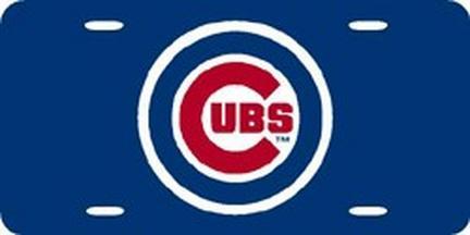 Chicago Cubs Laser Cut Blue License Plate