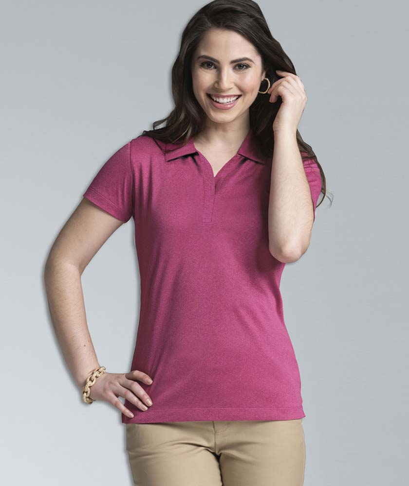 Women's Heathered Wicking Polo Shirt from Charles River Apparel
