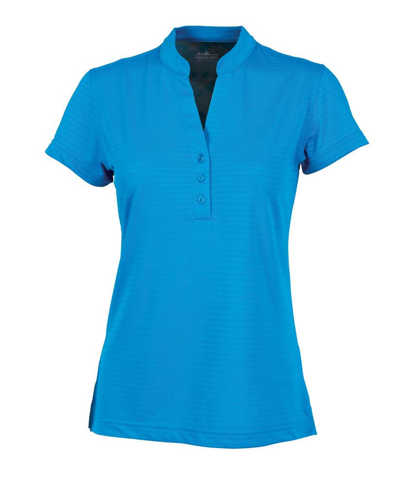 Women's Shadow Stripe Mandarin Collar Polo Shirt from Charles River Apparel