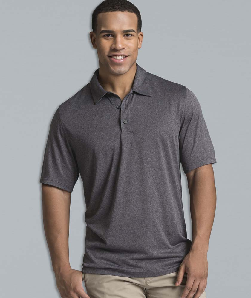 Men's Heathered Wicking Polo Shirt from Charles River Apparel