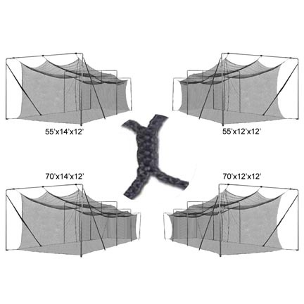 Cimarron 55' x 14' x 12'  3mm Braided Baseball / Softball Batting Cage Net (for use with Batting Cages)