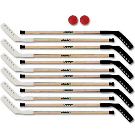 """PLEASE NOTE: THIS ITEM CANNOT SHIP VIA 3-DAY DELIVERY.Extra thick reinforced outdoor plastic blades for proven success. Each set available with wood or aluminum shafts, 12 extra long 56"""" sticks, 2 speed control balls and an instruction booklet."""