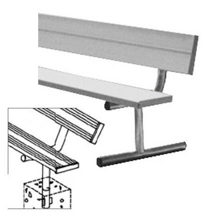 15' Heavy Duty Permanent Aluminum Bench with Back