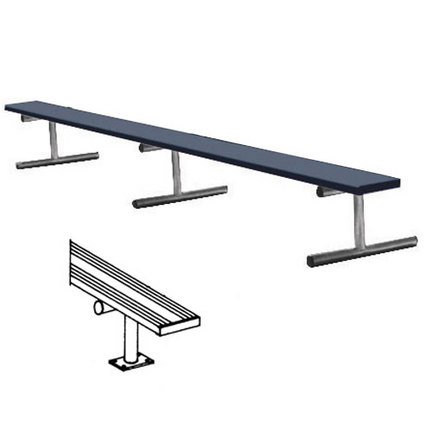 21' Surface Mount Powder Coated Bench without Back