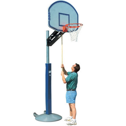 Bison Qwik Change™ Outdoor Portable / Adjustable Basketball System with Rectangular Acrylic Backboard