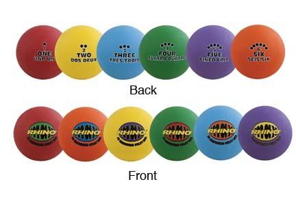 "8.5"" Rhino® Playground Sequence Utility Balls - Set of 6"