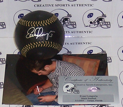 Evan Longoria Autographed Black Official Major League Baseball CSE-ABB-LONGORIA-BLK