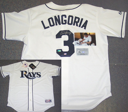 Evan Longoria Autographed Tampa Bay Rays 2008 World Series Authentic White Jersey CSE-AJERTRAWS-LONGORIA-WS