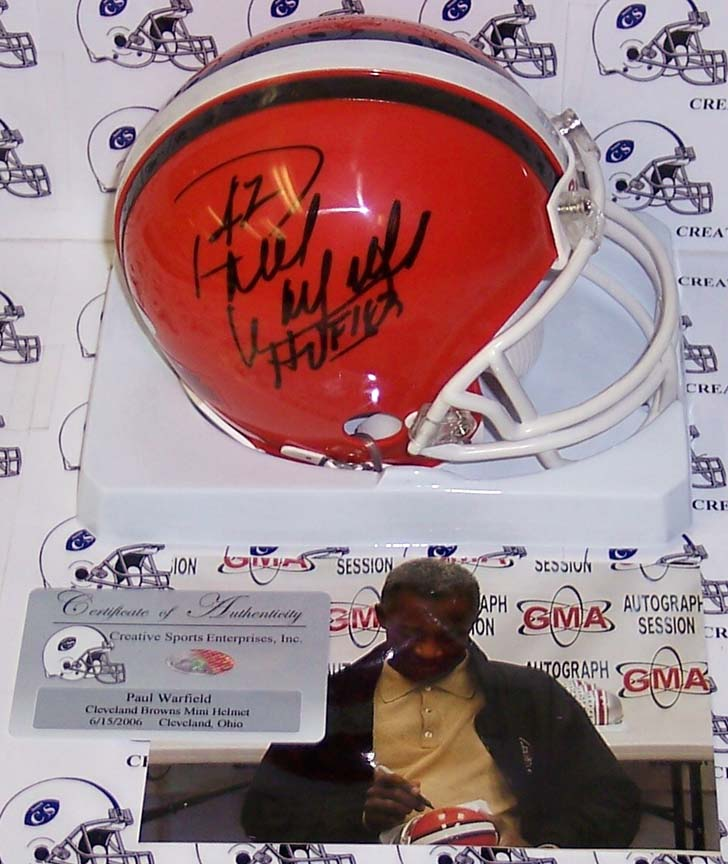 "Paul Warfield Autographed Cleveland Browns Mini Football Helmet with """"HOF 83"""" Inscription"" CSE-AMHCB-WARFIELD-HOF"