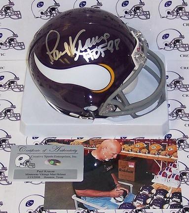 Paul Krause Autographed Minnesota Vikings Mini Football Helmet with Inscription CSE-AMHMV-KRAUSE-HOF